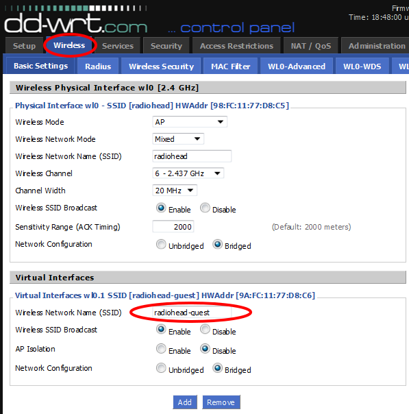 DD-WRT Router Guest Network Circled