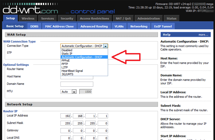 Change WAN connection type to PPPoE in DD-WRT