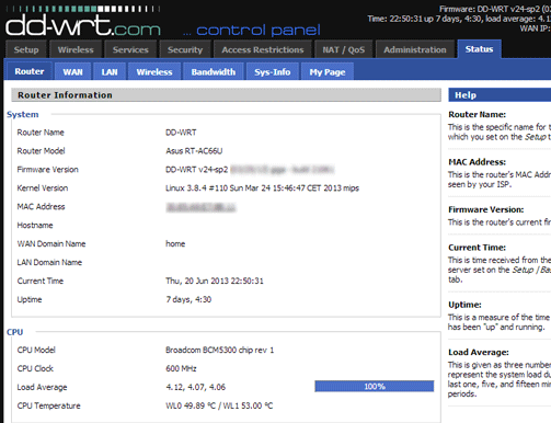 DD-WRT on AC66U - Status Screen