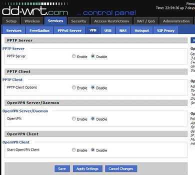 PPTP & OpenVPN Server/Client Options on DD-WRT