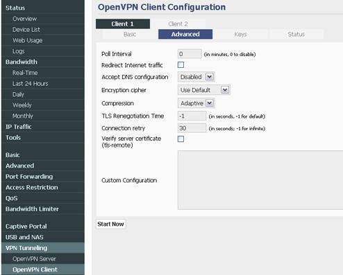 Tomato Firmware OpenVPN Services