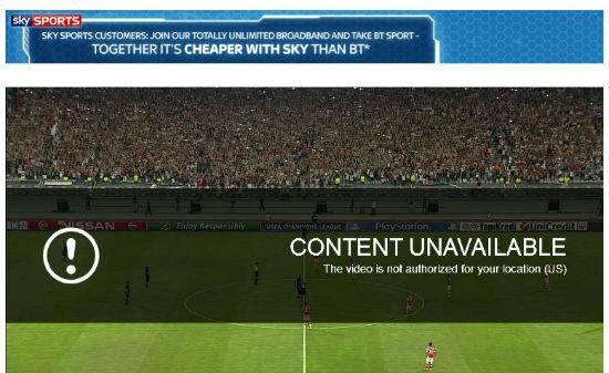 Unblock SkySports in US, Spain, Portugal