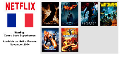 Superhero Movies - Streaming on Netflix France November 2014